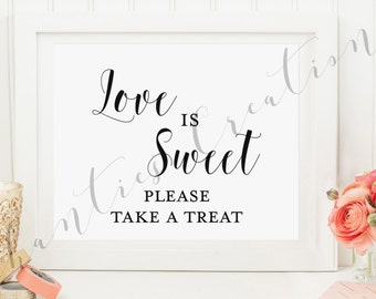 Love is Sweet Please Take a Treat. Wedding Sign. Wedding Favor Sign.  Love is Sweet Take a Treat Sign Printable. Bridal Shower Sign.