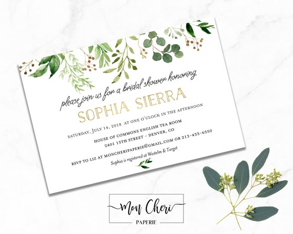 Bridal shower invitation greenery garden bridal shower etsy image 0 filmwisefo