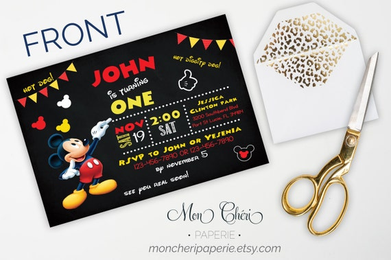 Mickey Mouse First Birthday Party Invitations