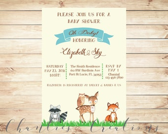 Woodland Baby Shower Invitation Printable - Woodland Baby Shower Baby Boy Invites with Watercolor Baby Animals