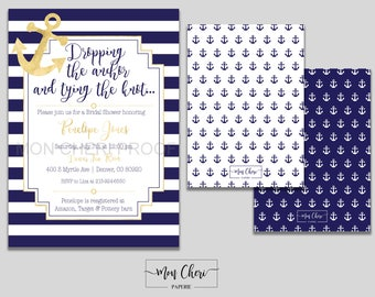 Anchor Navy White and Gold Stripe Bridal Shower Invitation  | Bridal Invite | Bridal Shower Dropping the Anchor Tying the Knot Bachelorette