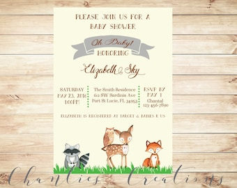 Woodland Baby Shower Invitation Printable - Woodland Baby Shower Gender Neutral Invites with Watercolor Baby Animals