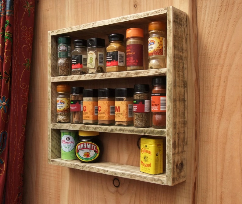 Woodworking Plans For Kitchen Spice Rack: Rustic Spice Rack / Kitchen Shelf Made From Reclaimed Wood