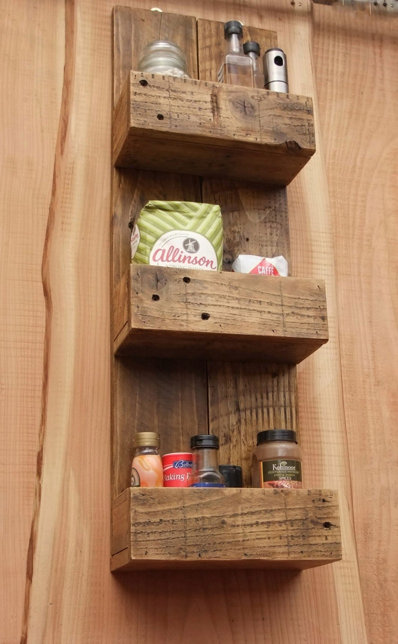 Tall Rustic Kitchen / Bathroom Storage Shelves Made From image 0