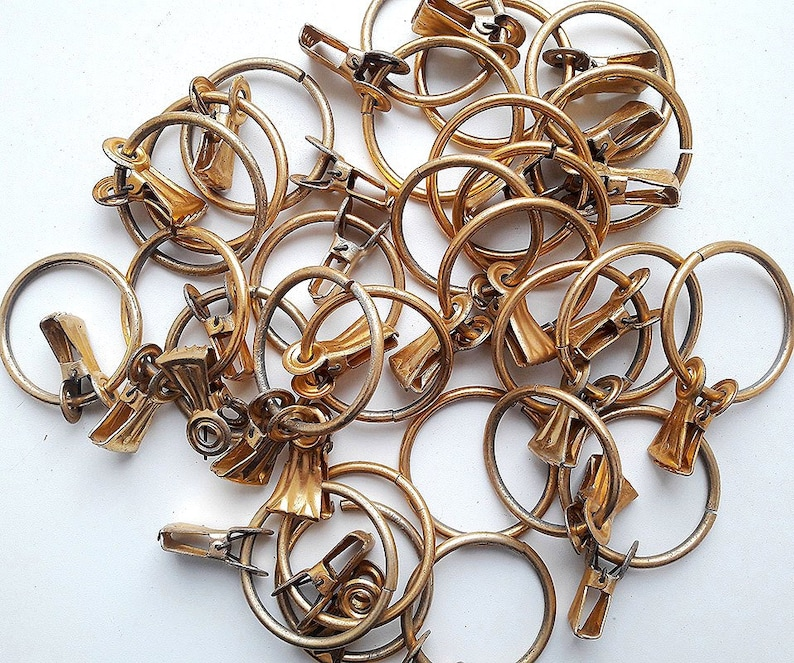 Old russian soviet antique  metal clips clamps Brass vintage clothespins window curtains rings