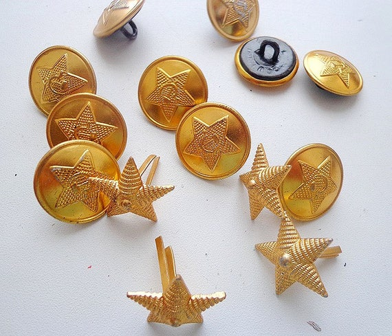 Soviet army military uniform buttons and stars for ussr soldier jacket shirt
