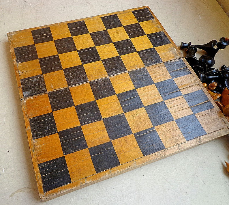 Retro wooden soviet chess set 1960s old classic vintage russian chess USSR