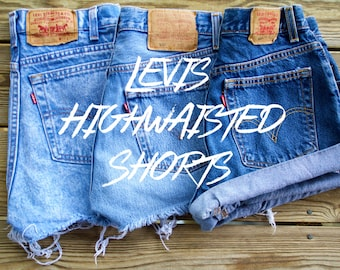 Levis High Waisted Shorts Custom | You Choose Levi Strauss Blue Rolled Frayed Shorts