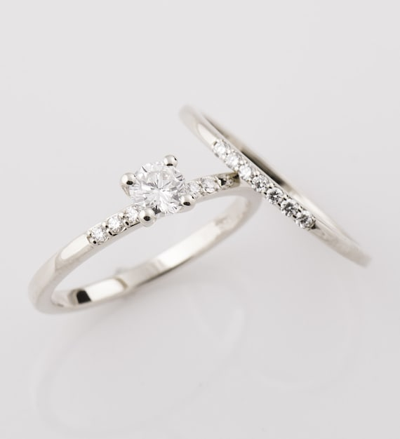 Diamond Ring Set Engagement Rings Set 14k White Gold Ring Etsy
