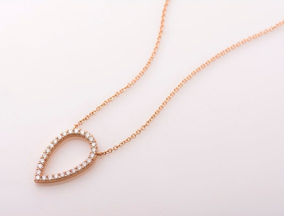 Turning Over Pear Pendant 14k   18k Rose Gold Necklace  fb441f9e91c2