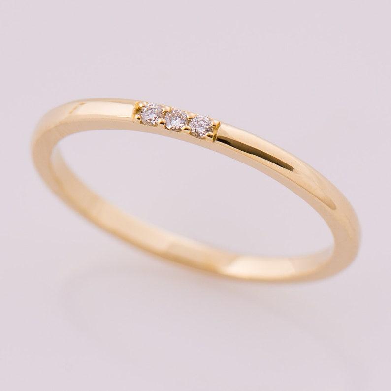 fbeab1a5621 Thin Diamond Band 3 Stone Band 14K Yellow Gold Stacking