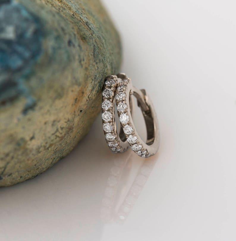 676e3c151 Hoop Diamond Earrings 14K / 18K White Gold Diamond Earrings | Etsy