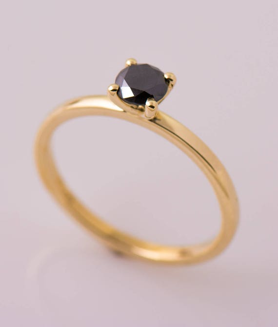 Black Diamond Engagement Ring 14k Yellow Gold Band Simple Etsy