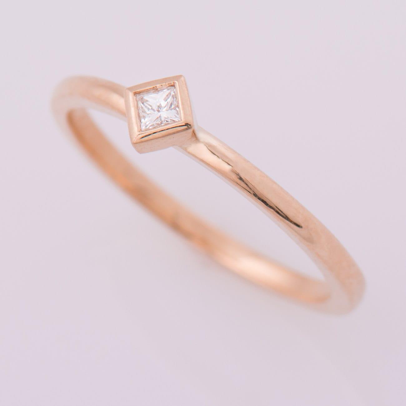 Princess Cut Diamond Ring Square Diamond Ring 14k Rose Gold Etsy