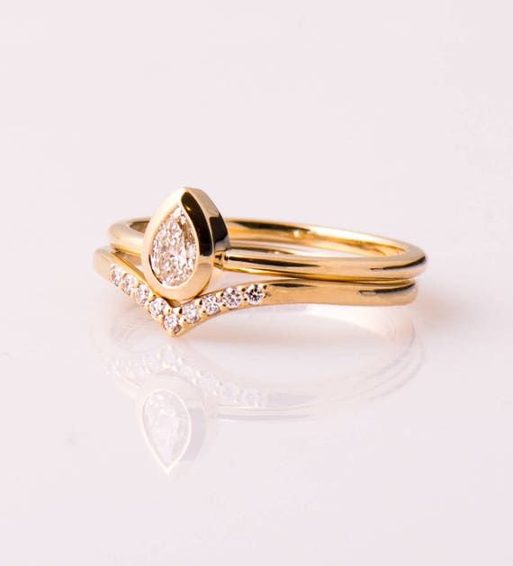 Birne Verlobungsringe Satz 14 K 18 K Gelb Gold Ringe Gesetzt Etsy