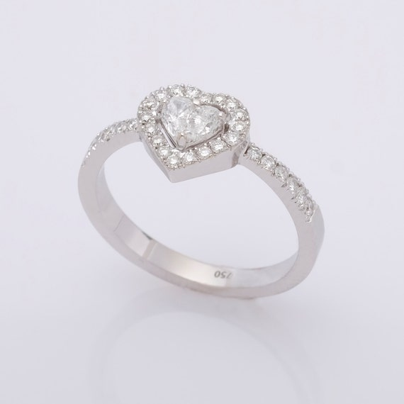 Verlobungsring Diamant 18k Weissgold Verlobungsring Art Etsy
