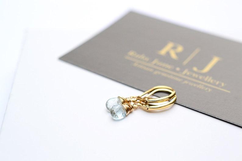 Birthday gift for sister her gift Dainty Aquamarine earrings gold Aquamarine earrings March birthstone earrings Aquamarine jewellery