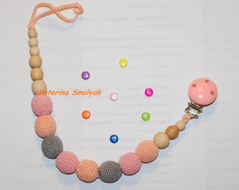 baby teether toy dummy holder baby teether toy clip wood teether stroller toy baby shower gift baby teething toy baby gift baby teething