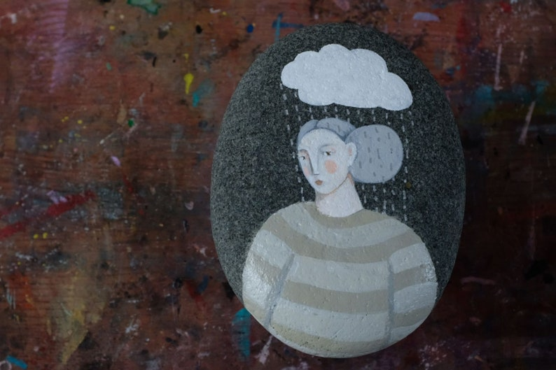 Raindrops Keep Falling on my Head painted stone original and image 0
