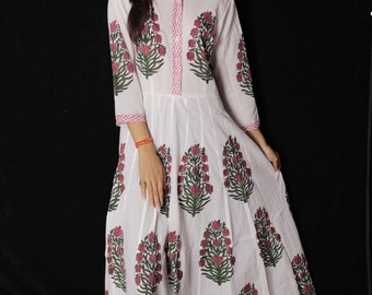 4508041c4ee7e Indian Hand block Printed Long Gown Dress For Women