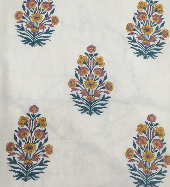 5 yards block printed cotton fabric