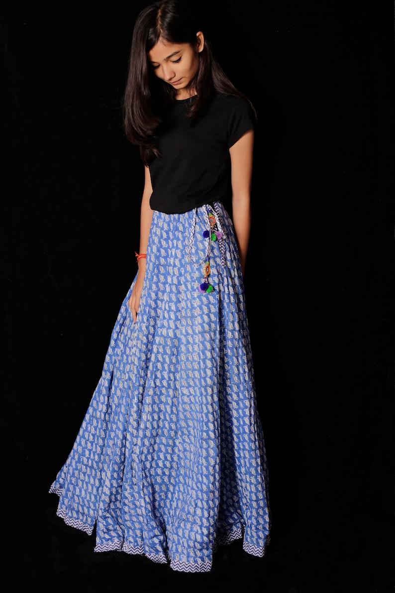 En Bloc Les Jupe Robe FemmesBlock Main SkirtRobeLongue Pour Long Indien Blanc Femme Coton Print Imprimé xdeWroCB