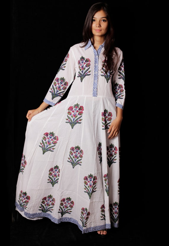 Indian Hand block Printed Long Gown Dress For Women Block Print Dress /& Tunics Women White Cotton Long Gown Hand Printed Dress