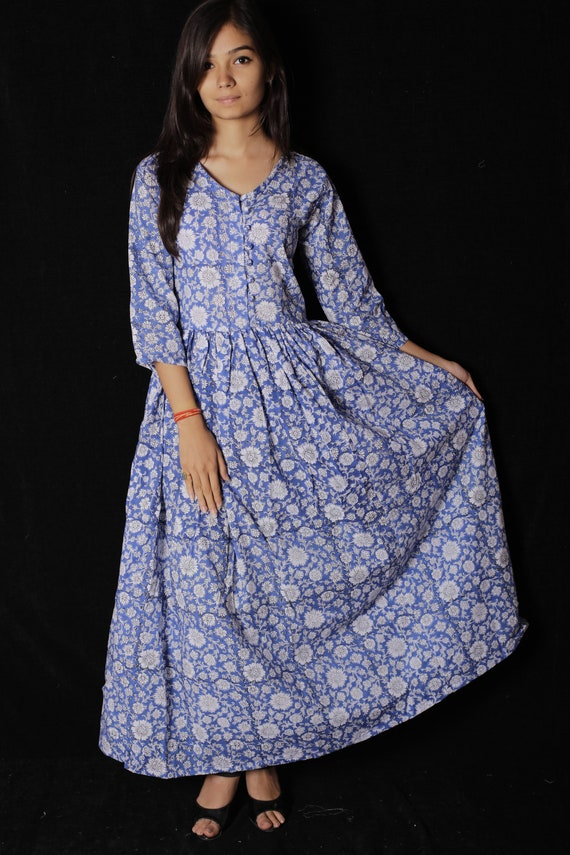 Tye Dye Mandala Print Gown Indian Maxi Dress Traditional Print Gown Handmade Cotton Boho Long Maxi Handblock Print Gown Party Wear Long Maxi