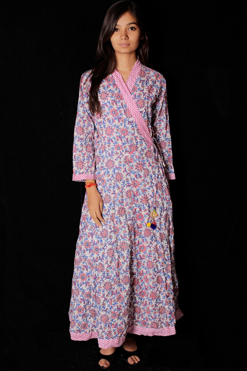 45392c298db49 Indian Hand block Printed Long Gown Dress For Women Block