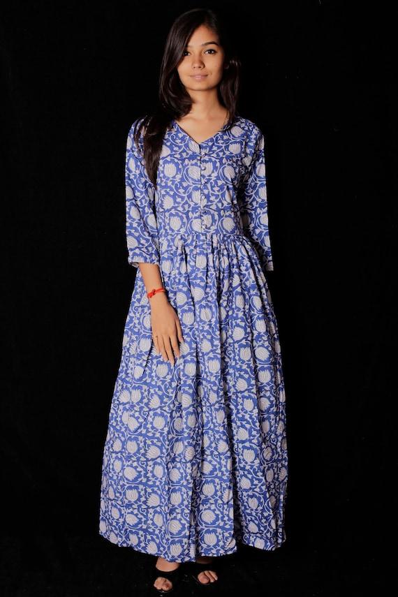 Block Print Dress /& Tunics Women White Cotton Long Gown Hand Printed Dress Indian Hand block Printed Long Gown Dress For Women