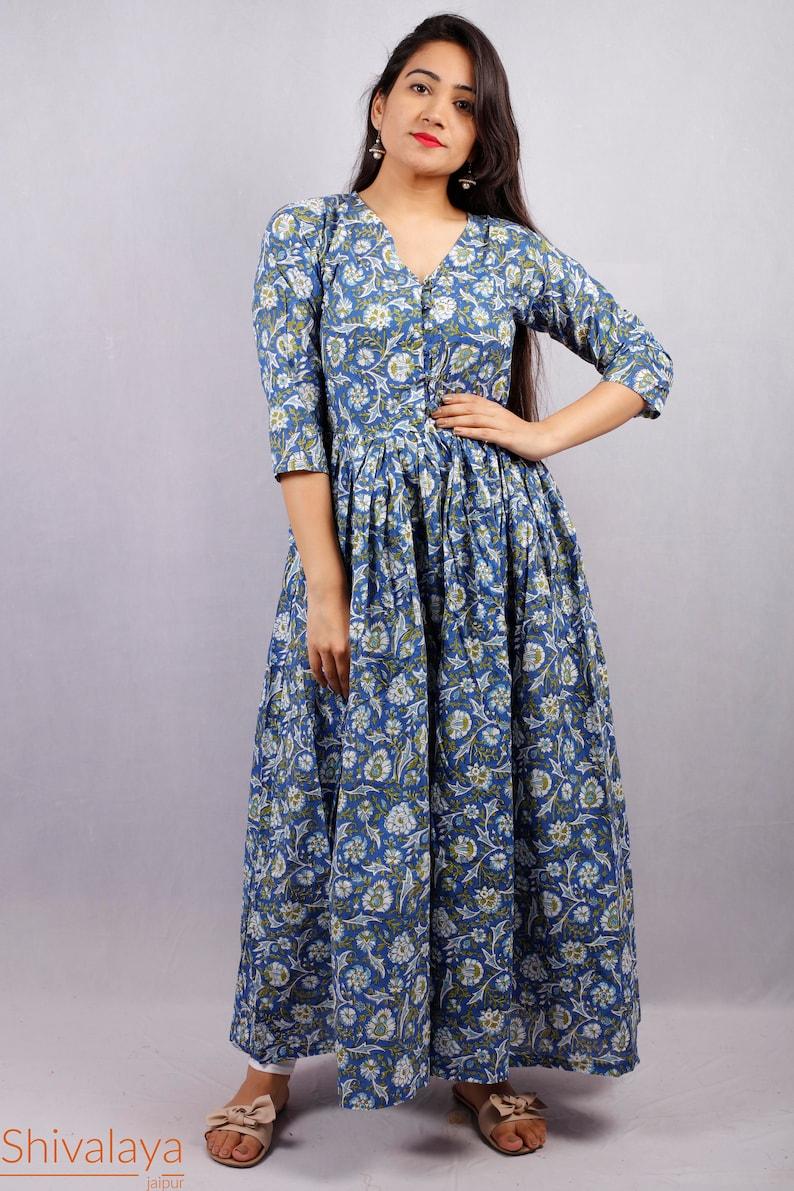 Hand Printed Dress Indian Tunics Indian Cotton Dress Hand Block Printed Dress Printed Dress Indian Cotton Long Gown Block Print Dress