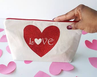 Love heart make up bag