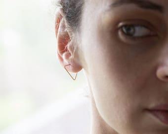 Triangle hoop earrings, edgy earrings, minimalist earrings, geometric earrings, staple earrings, line earrings.