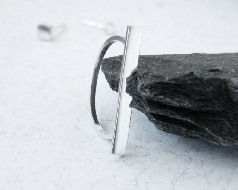 geometric ring edgy silver ring. Bar silver ring minimalist ring