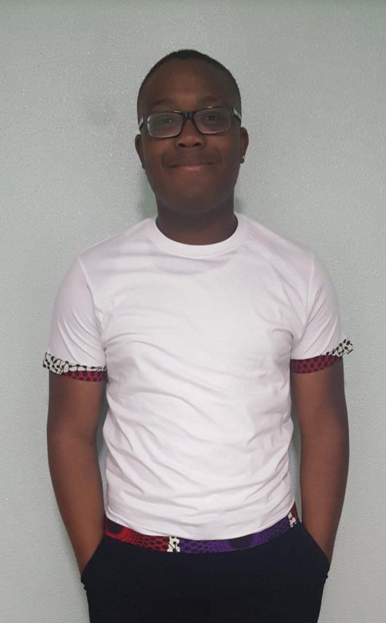 Shirt Garniture Le VliscoConception Africain T Basé Sur BlancDes Tissu Avec Imprimé De Un Wax Record Hommes PagneCoton TF1JlKc