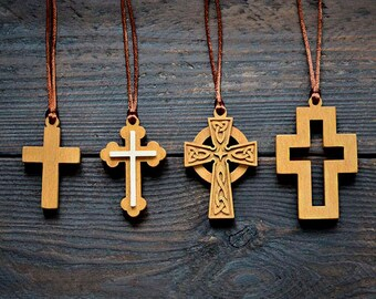 Wooden Cross Necklace Cross Necklace Christian Jewelry Wooden Cross Pendant