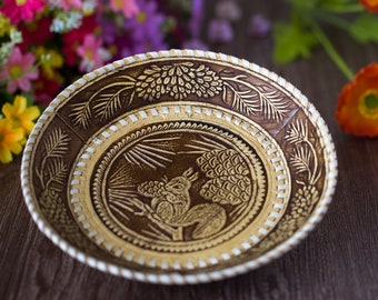 Carved plate Russian souvenir Gift for wife Rustic decor Birch Bark Serving tray Tray for fruit Handmade Wooden plate with Firebird