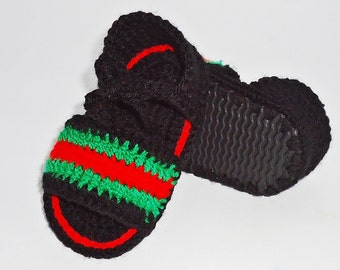 Baby Sandals, Crochet baby sandals, Gucci Slide Sandals, Baby Gucci Sandals, Summer baby shoes, Gucci baby shoes, Infant Crochet Sandals