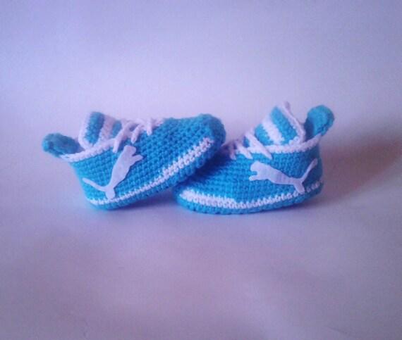 Haak Schoenen Puma Babyslofjes Blauwe Sneakers Blue Etsy