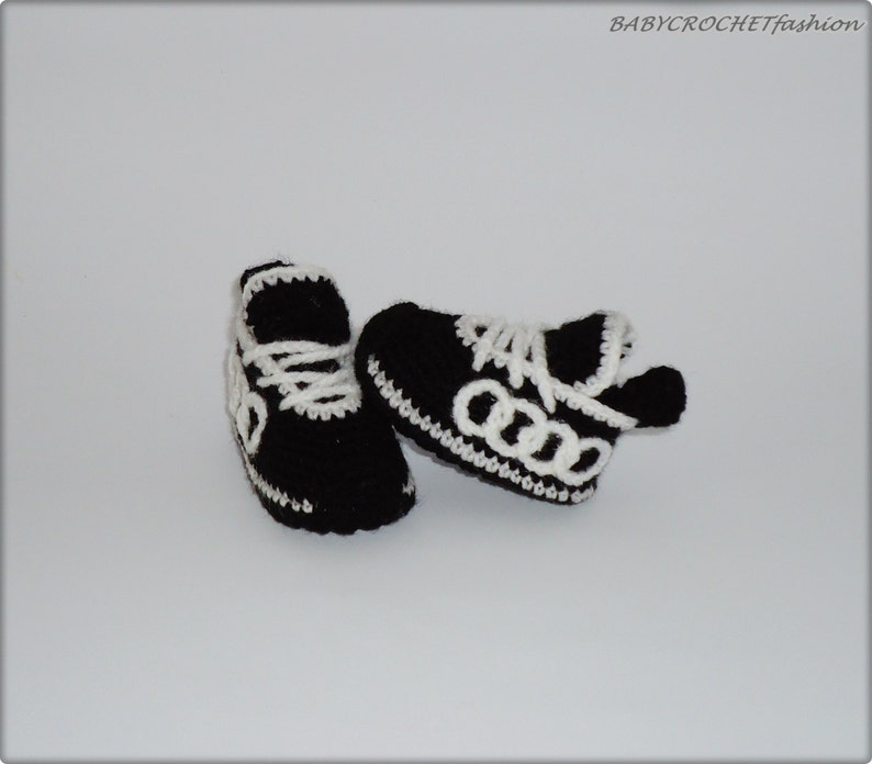 Black Baby Booties Gift Baby Shoes toddlers, Newborn shoes \u041anitted baby sneakers Crochet Baby sneakers