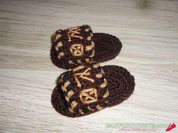 Baby Hausschuhe Louis Vuitton Pantoffeln häkeln Baby   Etsy