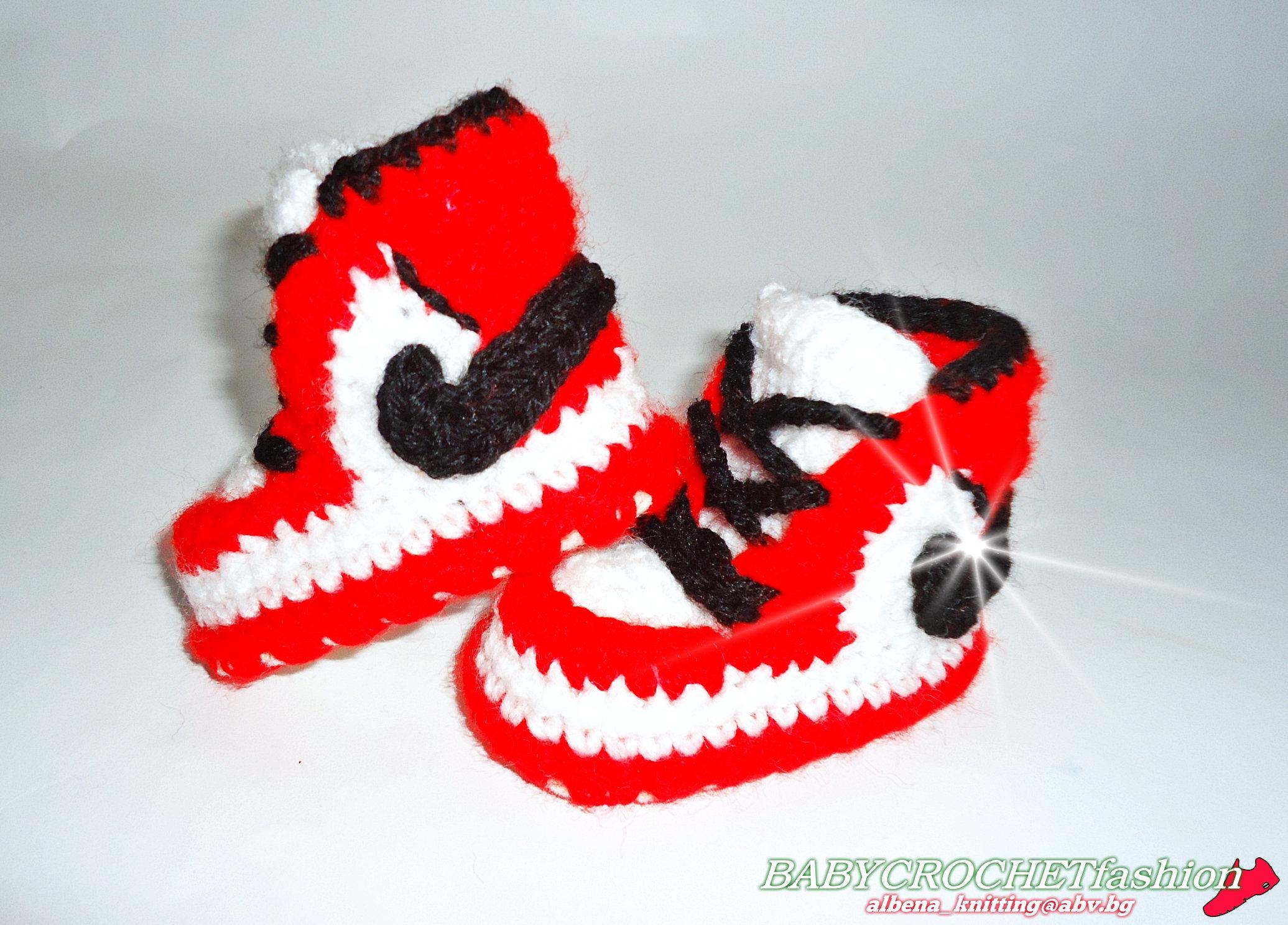 Air Jordan 1, Baby Air Jordan Shoes, Baby Booties, Crochet Baby Shoes, Newborn Air Jordan 1, Baby Crochet Shoes, Red Baby Jordan Shoes