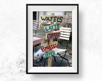 Coffee and Wafels Photography Antwerp Belgium Food Coffee Lovers Poster Photography Download Coffee Wafels Wall Art Kitchen Art Travel Gift