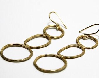 Hammered Circle Earring, Circle Earrings, Hoop Earrings, Long Hoop Earrings, Large Hoop Earrings , Dangle Circle Earrings, Everyday Earrings