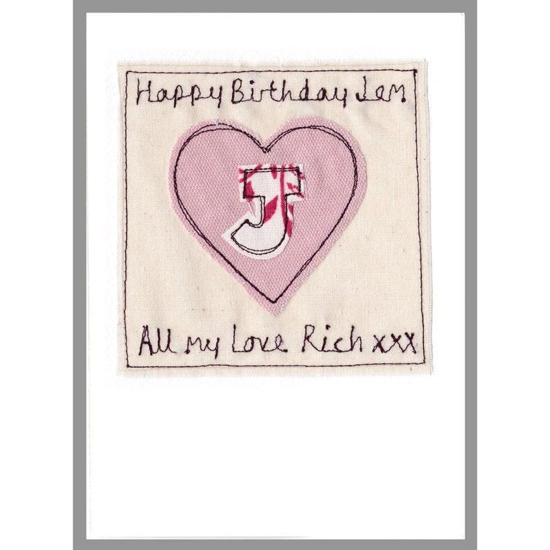 New Baby Girl Card Girls Birthday Card Personalised Initial Heart Card Pink Heart Card Girls Christening Card Naming Day Card