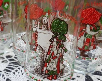 Holly Hobby Coca Cola Drinking Glasses / Coke Memorabilia /  Glass Tumblers / Tea Glasses / Time for Christmas / Have a Happy Holiday