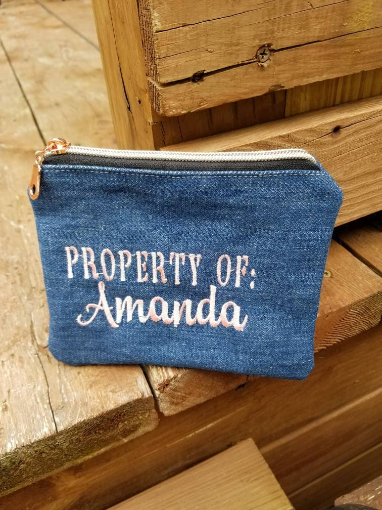 Denim Bags Property Of Zippered Pouch Money Bag Custom