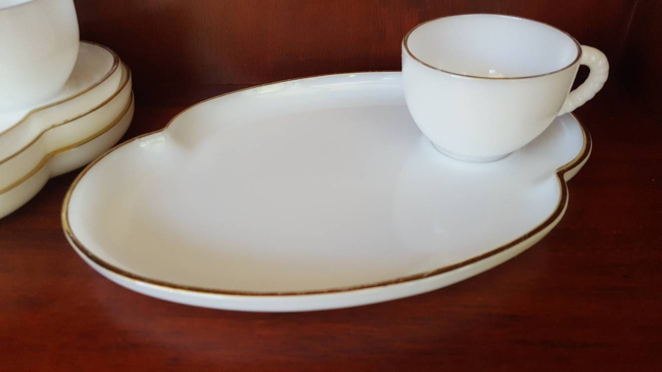 Vintage MILK GLASS Snack Tray & Cup / Gold Rim Luncheon Setting ...