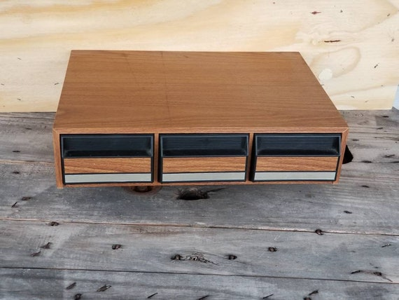 Vintage Audio Cassette Storage Cabinet / Tape Cassette Storage Wood Box  Frame / Plastic Cassette Storage Trays / Retro / 80u0027s / 3 Drawer