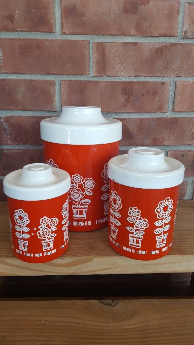 Vintage RED U0026 WHITE ATAPCO Canister Set / Mod Flower Tin Canisters / Retro Kitchen  Decor / 70u0027s Nesting Canisters